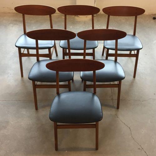 Set van 6 deense vintage teakhouten stoelen farstrup for Deense meubels vintage