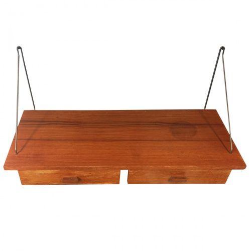 Wandplank Met Laatje.Vintage Deense Teak Wandplank Met Laatjes