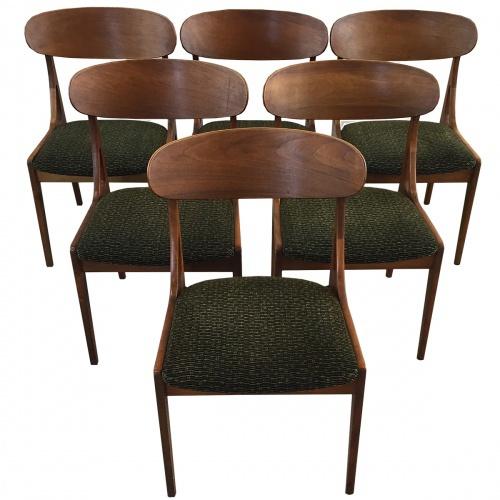 Set Van 6 Eetkamerstoelen.Set Van 6 Vintage Eetkamerstoelen Teakhout En Stof Denemarken Jaren 60