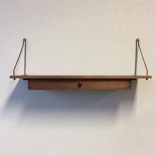 Wandplank Met Laatje.Vintage Deense Teak Wandplank
